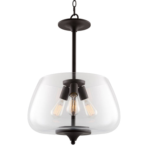 "Kira Home Conway 15"" Modern Retro 3-Light Large Pendant Chandelier + Fishbowl Glass Shade, Adjustable Hanging Height, Oil Rubbed Bronze Finish"