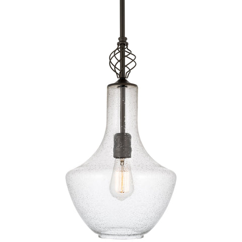 "Kira Home Sydney 15"" Modern Pendant Light + Vase Style Seeded Glass Shade, Adjustable Height, Oil Rubbed Bronze Finish"
