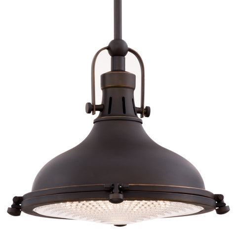 "Revel Beacon 11"" Vintage Industrial Pendant Light with Fresnel Lens, Oil-Rubbed Bronze Finish"