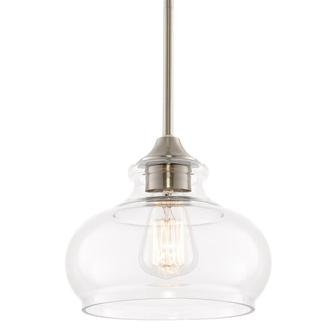 "Kira Home Harlow 9"" Modern Industrial Farmhouse / Schoolhouse / Rustic Pendant Light with Clear Glass Shade, Adjustable Hanging Height, Brushed Nickel Finish"
