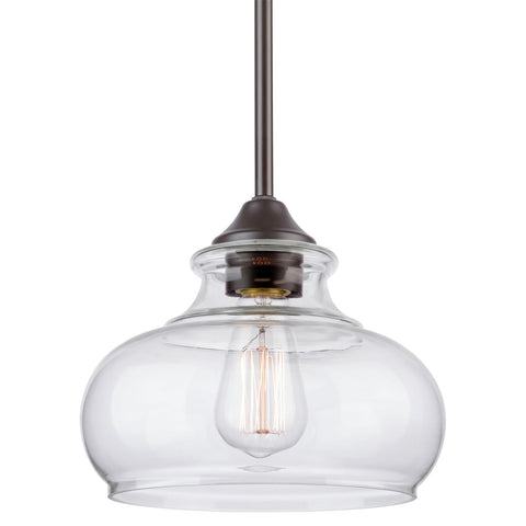 "Kira Home Harlow 9"" Modern Industrial Farmhouse Pendant Light with Clear Glass Shade, Adjustable Hanging Height, Oil Rubbed Bronze Finish"
