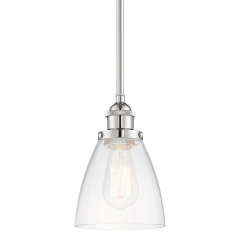 "Kira Home Porter 8"" Vintage Industrial Pendant Light + Mini Glass Shade, Dimmable, Adjustable Height, Chrome Finish"