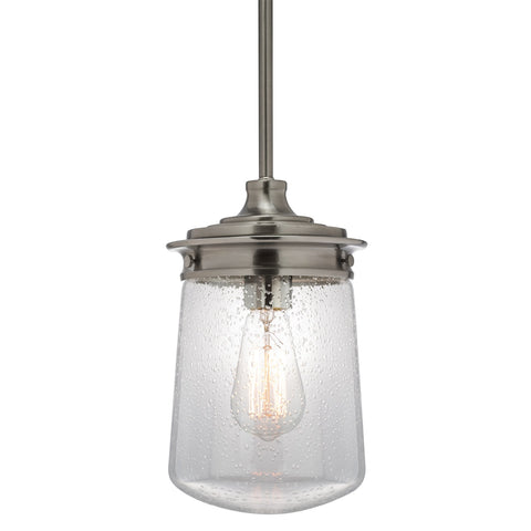 "Kira Home Mason 10.5"" Industrial Pendant Light, Seeded Glass Shade + Brushed Nickel Finish"