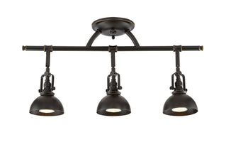 "Kira Home Broadway 23"" 3-Light Industrial Directional Wall/Ceiling Track Light, Bronze Finish"