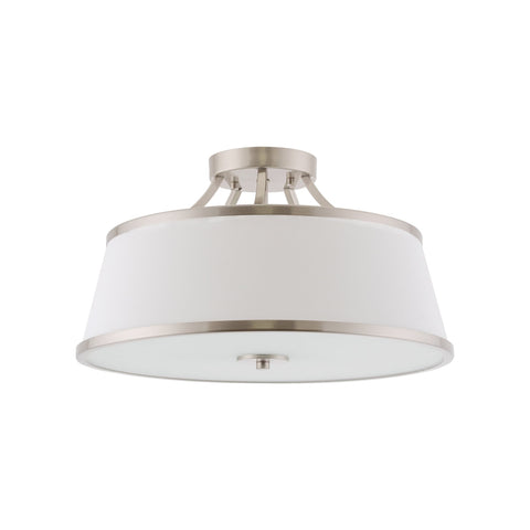 "Kira Home Zoey 17.5"" Modern 3-Light Semi-Flush Mount Ceiling Light Fixture + White Fabric Shade, Brushed Nickel Finish"