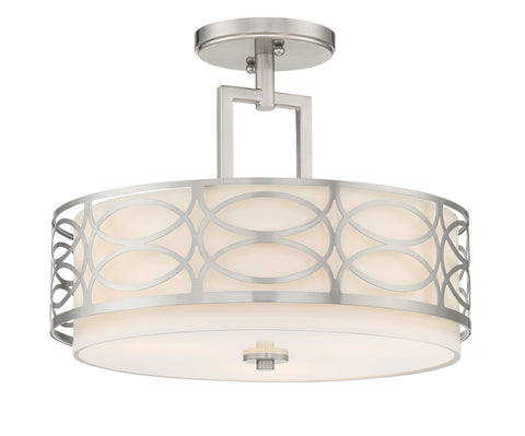 "Kira Home Sienna 15"" 3-Light Semi Flush Mount Ceiling Light, White Fabric Shade + Glass Diffuser, Brushed Nickel Finish"