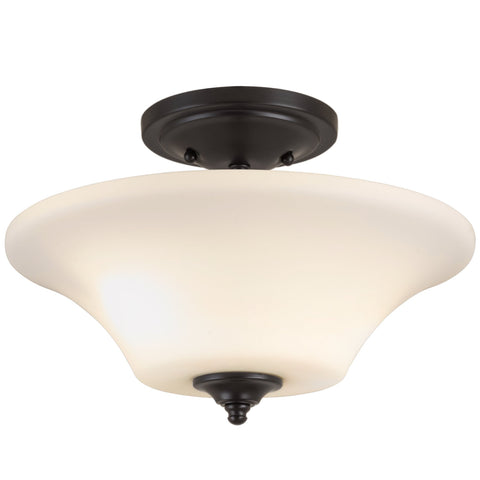 "Kira Home Beaumont 13"" Modern Transitional Semi Flush Mount Ceiling Light + Opal Glass Shade, Oil-Rubbed Bronze Finish"