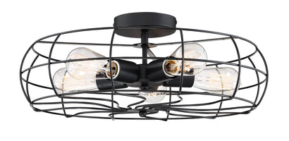 "Revel / Kira Home Gage 18"" Industrial 5-Light Fan Style Metal Cage Semi-Flush Mount Ceiling Light, Matte Black Finish"