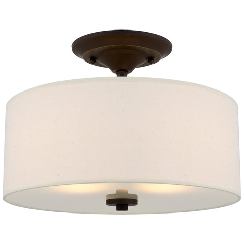 "Kira Home Addison 13"" 2-Light Semi-Flush Mount Ceiling Light Fixture with Off-White Fabric Drum Shade, Bronze Finish"