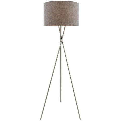"Kira Home Sadie 60"" Modern Tripod LED Floor Lamp + 9W bulb (Energy Efficient/Eco-Friendly), Gray Shade + Brushed Nickel Finish"