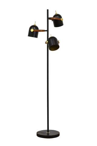 "Kira Home Amsterdam 59.5"" Transitional 3-Light Floor Lamp, Black Finish + Brass Accents + Faux Leather Straps"