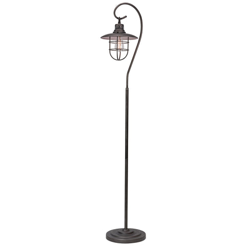 "Kira Home Lantern 58"" Industrial Nautical Floor Lamp + 6W Bulb (Energy Efficient / Eco-Friendly), Hanging Shade Design + Cage, Brushed Pewter Finish"