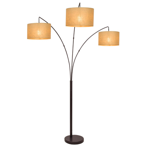 "Kira Home Revel Akira 80"" Modern 3-Light Arc Floor Lamp with 3-Way Switch, Beige Burlap Drum Shades + Antique Bronze Finish"