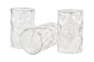 "Kira Home Armada II 6.5"" Glass Shades, Clear Hammered Replacement Glass, 1.75"" Fitter Size, 6.5"" x 4"", 3-Pack"