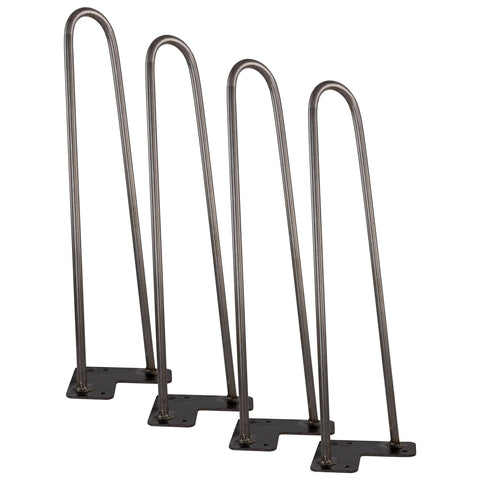 "Revel 16"" Industrial/Mid-Century Metal Hairpin Table Legs, Raw Steel Finish, Set of 4"