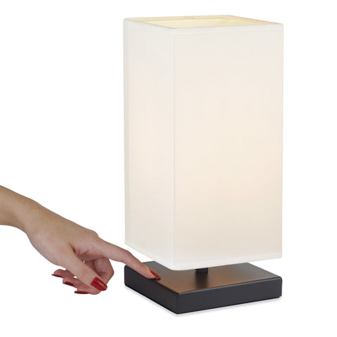 "Kira Home Lucerna 13"" Modern LED TOUCH Table Lamp, Energy Efficient Nightstand Lamp for Bedroom, White Fabric Shade + Oil Rubbed Bronze Finish"
