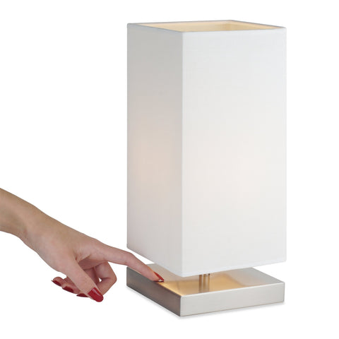 "Kira Home Lucerna 13"" TOUCH Bedside LED Table Lamp, Energy Efficient, Eco-Friendly, White Canvas Shade"