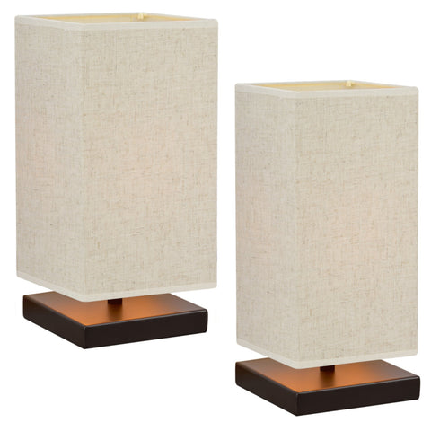 "Kira Home Lucerna 13"" TOUCH Bedside LED Table Lamp, Energy Efficient, Eco-Friendly, Honey Beige Shade, 2-Size Pack"