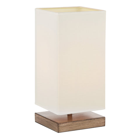 "Kira Home Lucerna 13"" TOUCH Bedside Table Lamp + 4W LED Bulb (40W eq.) Energy Efficient, Eco-Friendly, Wood Style Finish + White Canvas Shade"