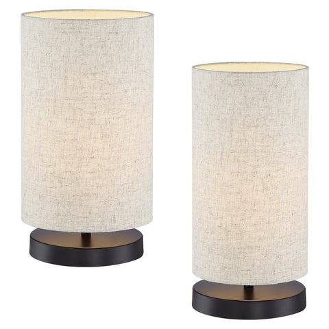"Kira Home Lucerna 13"" Round TOUCH Bedside LED Table Lamp, Energy Efficient, Eco-Friendly, Honey Beige Shade, 2-Size Pack"