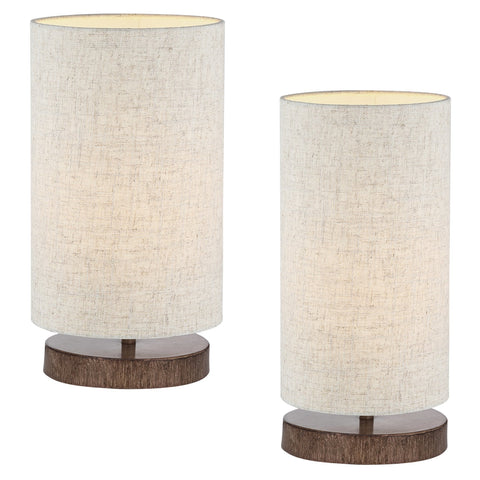 "Kira Home Lucerna 13"" Round TOUCH Bedside LED Table Lamp, Energy Efficient, Eco-Friendly, Wood Style Finish + Honey Beige Shade, 2-Size Pack"