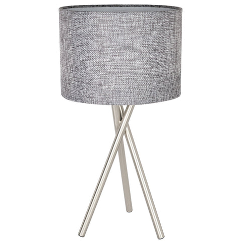 "Kira Home Sadie 14"" Tripod Mini Table Lamp, Gray Drum Shade, Brushed Nickel Finish - Mid Century Modern Design for Contemporary Spaces"