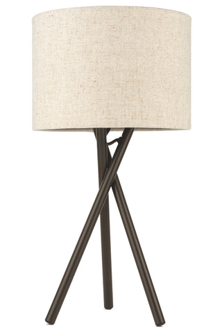"Kira Home Sadie 14"" Mid Century Modern Tripod Mini Table Lamp + 60W G9 Bulb, Honey Beige Drum Shade, Metal Body, Oil Rubbed Bronze Finish"