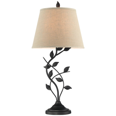 "Kira Home Ambrose 31"" Traditional Rustic Table Lamp + Beige Fabric Shade, Leaf Detailed Body, 7W LED Bulb (Energy Efficient, Eco-Friendly), Matte Black Finish"