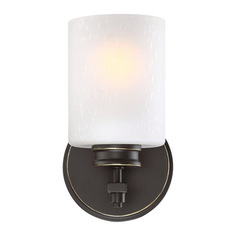 "Revel Phoebe 8"" Wall Sconce/Wall Light + Frosted Seeded Glass Shade, Oiled Bronze Finish"