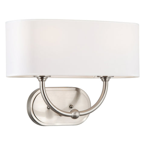 "Kira Home Hewitt 16"" 2-Light Modern Wall Sconce/Wall Light + Oval White Fabric Shade, Brushed Nickel Finish"