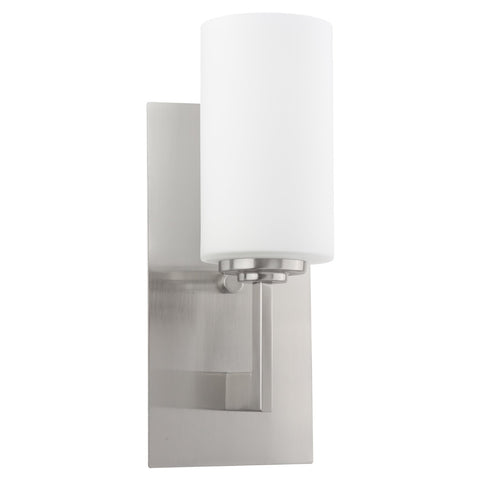 "Kira Home Celene 13"" Contemporary One-Light Bathroom Wall Sconce/Wall Light Vanity + Frosted Glass Shade, Brushed Nickel Finish"
