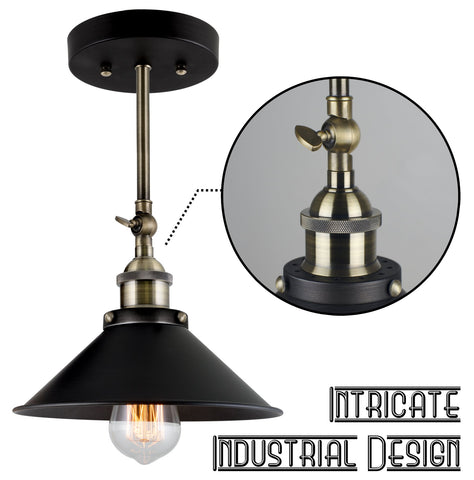 "Kira Home Indie 9"" Industrial Wall Sconce / Ceiling Light + Adjustable Head, Antique Brass + Brushed Black finish"