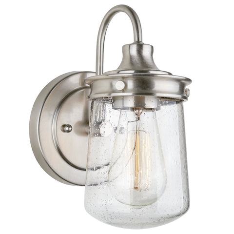 "Kira Home Mason 10"" Industrial Farmhouse Wall Sconce/Light, Seeded Glass Shade, Dimmable, Brushed Nickel Finish"