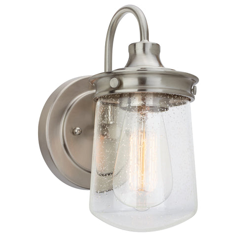 "Kira Home Mason 10"" Industrial Wall Sconce, Seeded Glass Shade + Brushed Nickel Finish"