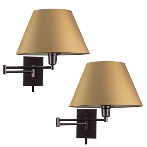 "Kira Home Cambridge 13"" Swing Arm Wall Lamp - Plug In/Wall Mount + Golden Bronze Fabric Shade, 150W 3-Way, Black Finish, 2-Pack"