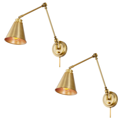 "Kira Home Ellis 18"" Vintage Industrial Swing Arm Wall Lamp - Plug In/Wall Mount + Cord Covers, Warm Brass Finish, 2-Pack"