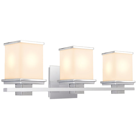 "Revel Lux 24"" 3-Light Vanity/Bathroom Light + Metal Cast Body, Chrome Finish, Frosted Glass Shades"