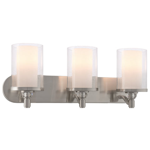 "Kira Home Victoria 24"" Contemporary 3-Light Vanity/Bathroom Light, Frosted + Seeded Dual Cylinder Glass Shades, Brushed Nickel Finish"