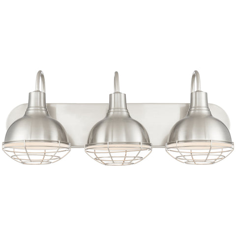 "Revel Liberty 24"" 3-Light Industrial Vanity/Bathroom Light, Brushed Nickel Finish"