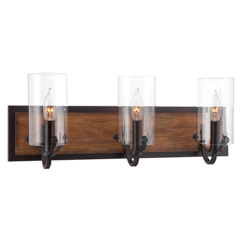 "Kira Home Aspen 22"" Rustic Farmhouse 3-Light Vanity / Bathroom Light + Clear Glass Shades, Walnut Style Wood + Oil Rubbed Bronze Finish"