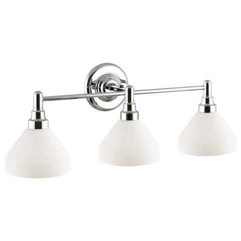 "Kira Home Serene 26.5"" Modern 3-Light Vanity/Bathroom Light, Opal Glass Shades, Dimmable, Chrome Finish"