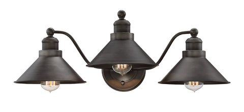 "Kira Home Welton 25.5"" Modern Industrial 3-Light Vanity / Bathroom Light, Brushed Dark Industrial Bronze Finish"