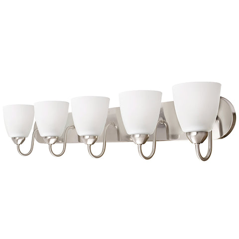 "Kira Home Armada 36"" 5-Light Modern Over Mirror Vanity / Bathroom Light, Frosted Glass Shades, Curved Arms, Brushed Nickel Finish"