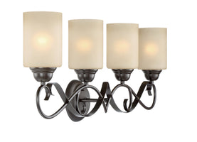 "Kira Home Villa 31"" Traditional 4-Light Vanity/Bathroom Light + Amber Glass Shades, Oil Rubbed Bronze Finish"