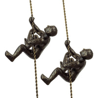 "Kira Home Titan 6"" Climbing Man Metal Wall Sculpture + Hand-Painted Charcoal Gold Finish (Set of 2)"