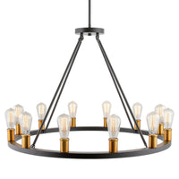"Kira Home Jericho 35"" 12-Light Large Rustic Farmhouse Wagon Wheel Chandelier, Round Kitchen Island Light, Warm Brass Accents + Black Finish"