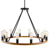 "Kira Home Jericho 35"" 12-Light Large Rustic Farmhouse Wagon Wheel Chandelier, Round Kitchen Island Light, Textured Black Accents + Warm Oak Wood Style Finish"