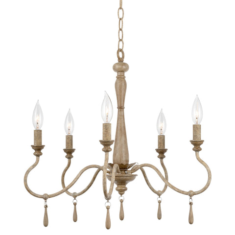 "Kira Home Roma 22"" 5-Light French Country Chandelier, Adjustable Height, Smoked Birch Style Wood Finish"