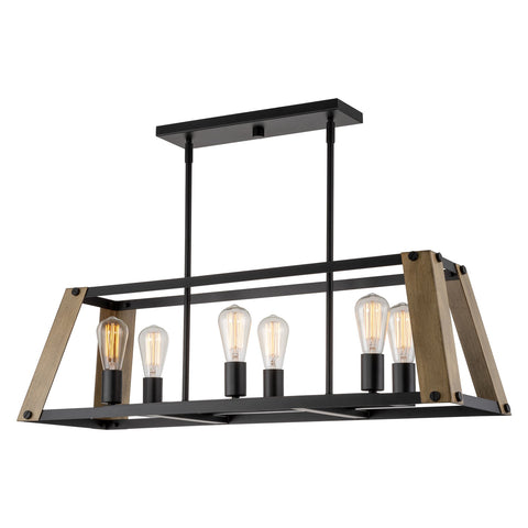 "Kira Home Parker 34"" 6-Light Farmhouse Kitchen Island Light + Tapered Rectangular Frame, Smoked Birch Wood Style + Black Finish"