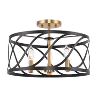 "Kira Home Isabelle 16"" 3-Light Modern Semi-Flush Mount Ceiling Light, Metal Drum Shade, Warm Brass Accents + Black Finish"